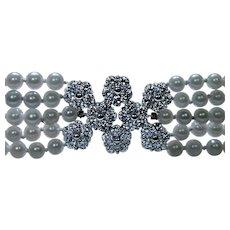 "Diamond 3.40ct VVS-E Pearl Bracelet 14K White Gold 5 strand 6.25"""