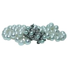 Salt Water Akoya Pink Pearl Diamond Bracelet 14K White Gold 3-strand