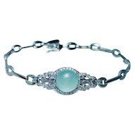 "Aquamarine Diamond Baguette Bracelet Platinum 18K White Gold 8"""