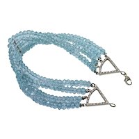 Vintage 80ct Aquamarine Diamond 18K Gold Bracelet Estate