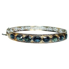 Vintage Green Sapphire Bangle Bracelet 18K Gold Estate 8.5ct