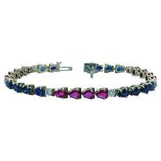 Ceylon Sapphire Burmese Ruby Diamond Tennis Bracelet 18K Gold Estate 11ct+