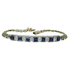 Ceylon Sapphire Emerald cut Diamond Bracelet 18K Gold Heavy Estate