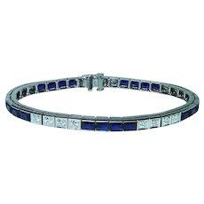 12.5ct Sapphire Diamond Bracelet 14K White Gold Heavy
