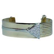 Designer SAVITT Diamond Cuff Bracelet 14K Gold Heavy 28gr
