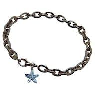 18K 14K Rose Gold Star Charm Baguette Diamond Bracelet Italy