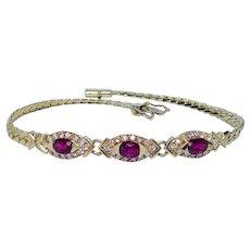 Vintage H Stern Ruby Diamond Bracelet 18K Gold Designer Signed