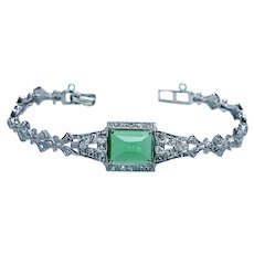 Vintage Platinum 14K White Gold Sugarloaf Tourmaline Old European Diamond Bracelet