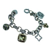 David Yurman 18K Gold Sterling 25th Anniversary Peridot Diamond Charm bracelet
