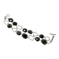 Diamond Smokey Quartz Bracelet 14K Gold Toggle Clasp