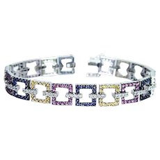 Vintage 14K White Gold Diamond Fancy Multicolor Sapphire Bracelet Estate
