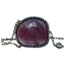 Rutilated Ruby Red Slice Halo Diamond Bracelet 18K Rose Gold Estate Designer