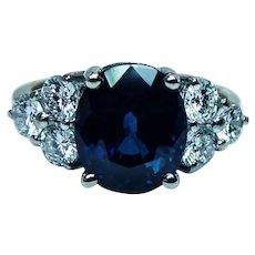 Vintage 5ct Sapphire 1.2ct Diamond 18K Gold Ring GIA Appraisal KRR0