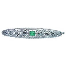 Art Deco Platinum Old European Diamond Emerald Brooch