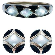 Kurt Wayne Onyx Mother of Pearl Earrings Bracelet Set 14K Gold Heavy Designer