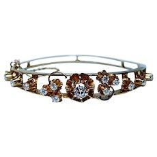 Vintage Diamond Bracelet 18K Gold Heavy Designer Possibly French