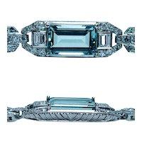 """Art Deco Platinum 4.5ct Aquamarine Diamond Baguette Bracelet Estate 6.5"""""""