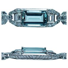 Art Deco Platinum 4.5ct Aquamarine Diamond Baguette Bracelet Estate 6.5""