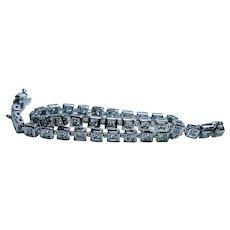 John Atencio Diamond Line Tennis Bracelet 14K White Gold Designer Estate
