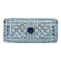 Art Deco Platinum Old European Diamond Sapphire Brooch Estate 2.5ct