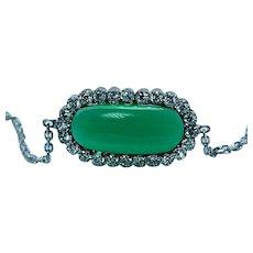 Vintage Green Stone Emerald Halo Diamond Bracelet 18K White Gold Estate