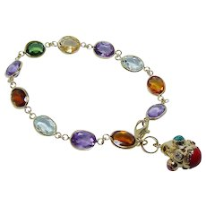 18K Gold Aquamarine Amethyst Tourmaline Dangle Charm Bracelet