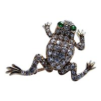Antique Black Starr & Frost 18K Gold Old European Diamond Frog Brooch