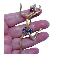 Exotic Dancer Diamond Ruby Sapphire Modernist Pin Brooch 18K Gold Huge 3""