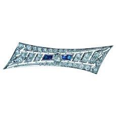 Art Deco Platinum Old European Diamond French Sapphire Brooch Estate 2.1ct