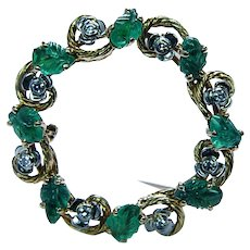 Tutti Frutti Carved Emerald Diamond Brooch 18K Gold Estate Designer