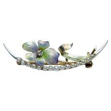 Art Nouveau 14K Gold Diamond Enamel Flower Pin Brooch Estate