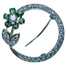 Vintage McTeigue 18K Gold Platinum Diamond Colombian Emerald Brooch Estate Designer