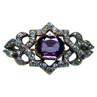 Imperial Russian Antique Miner Cushion Diamond Purple Sapphire Brooch 14K Gold