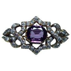 Imperial Russian Antique Miner Cushion Diamond Purple Sapphire Brooch 14K Gold Estate