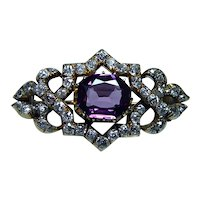 Imperial Russian Antique Mine cut Cushion Diamond Purple Sapphire Brooch 14K Gold