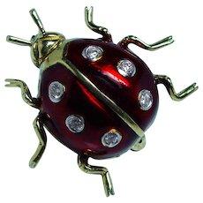 Levian Diamond Ladybug Red Enamel Brooch Pin 18K Gold Animal
