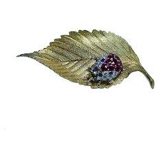 McTeigue 18K Gold Diamond Ruby Ladybug Brooch Pin Designer Signed