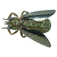Vintage 18K Gold Demantoid Garnet Beetle Bug Insect Brooch Huge Estate Hallmarks