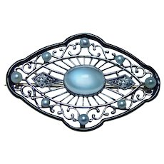 Art Nouveau 14K Gold Moonstone Old European Diamond Brooch Signed