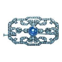 Art Deco Platinum 3.3ct Old European Diamond Natural No Heat Sapphire Brooch Estate