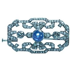 Art Deco Platinum 3.3ct Old European Diamond Natural No Heat Sapphire Brooch Estate