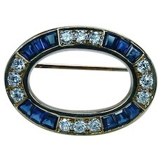 Oscar Heyman Sapphire Diamond Brooch Pin 18K Gold Eternity