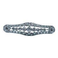 Art Deco Platinum Old European Diamond Brooch Estate 2.8ct VS-G