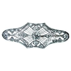 Art Deco Platinum Old European Diamond Brooch Estate