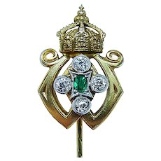 Imperial Russian Old European Diamond Stick Pin 14K Gold Шапка Мономаха