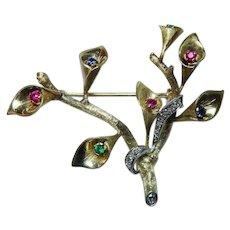 Tiffany & Co Diamond Ruby Sapphire Emerald Calla Lily Brooch 18K Gold