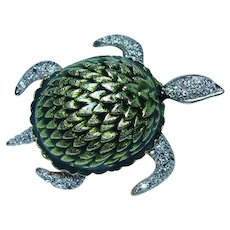 Diamond Turtle Green Enamel Brooch Pin 14K Gold Figural Animal Large