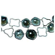 Diamond Smokey Quartz Bracelet 14K Gold Toggle Clasp