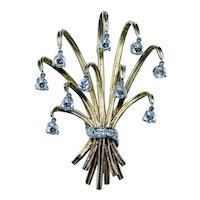 French Diamond En Tremblant Bouquet Brooch 18K Gold Designer Hallmarks