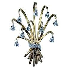 French Diamond En Tremblant Bouquet Brooch 18K Gold Designer Hallmarks